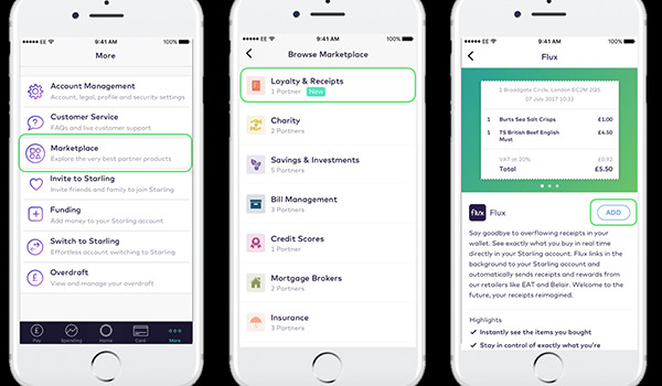 Starling Bank's Marketplace goes live with Flux as first integrated partner