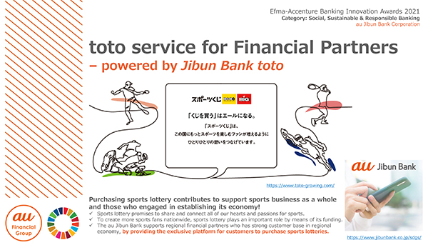 au Jibun Bank: Banking as a part of Sports Lottery Sales Services for Regional Revitalization