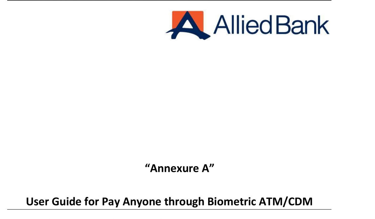 Allied Bank: User Guide for Pay Anyone through Biometric ATM/CDM
