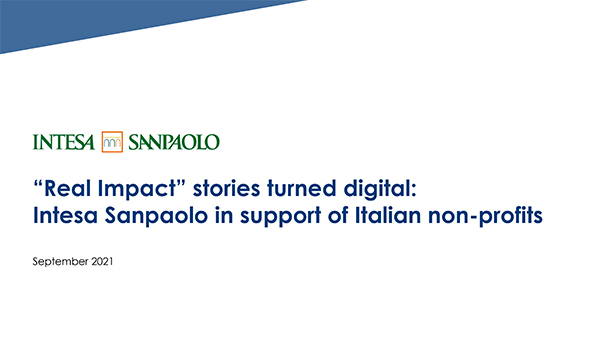 """""""Real Impact"""" stories turned digital: Intesa Sanpaolo in support of Italian non-profits"""